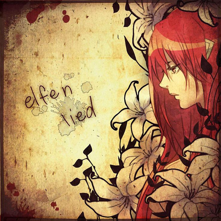 artist_request elfen_lied face flower lily_(flower) long_hair lucy nikon pink_hair profile sad title_drop