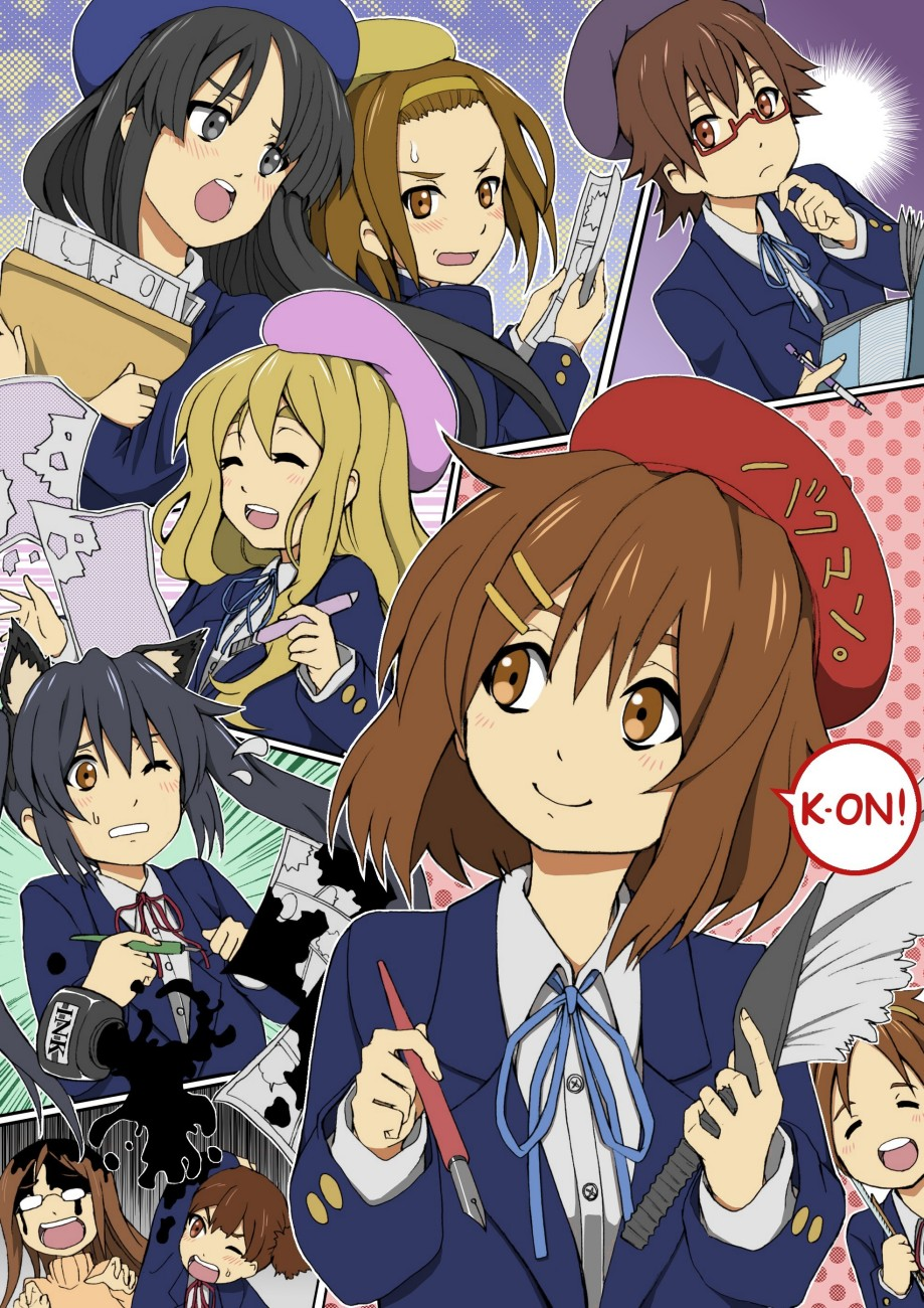 azarashing_day beret black_eyes black_hair blonde_hair blue_hair brown_eyes brown_hair brush closed_eyes everyone eyes_closed fountain_pen hat highres hirasawa_ui hirasawa_yui ink k-on! kotobuki_tsumugi long_hair manabe_nodoka multiple_girls nakano_azusa pen school_uniform short_hair suzuki_jun tainaka_ritsu twintails yamanaka_sawako