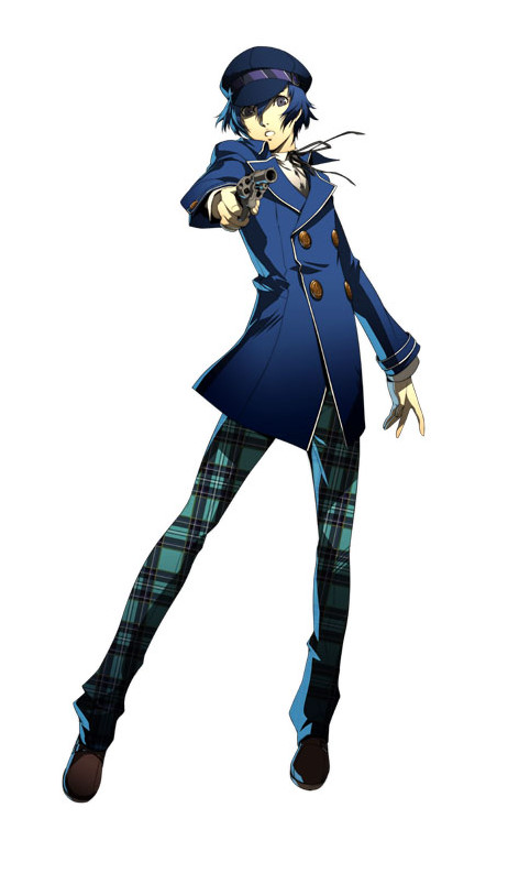 androgynous arc_system_works blue_eyes blue_hair cabbie_hat female gun hat official_art pants persona persona_4 persona_4:_the_ultimate_in_mayonaka_arena persona_4_the_golden pistol plaid reverse_trap shirogane_naoto short_hair soejima_shigenori solo tomboy unmoving_pattern weapon