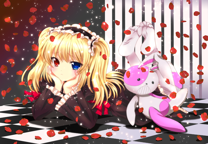 bad_id blonde_hair blue_eyes blush boku_wa_tomodachi_ga_sukunai chin_rest dress gothic_lolita hair_ornament hairband hasegawa_kobato heterochromia legs_up lolita_fashion lolita_hairband lolita_headband long_hair lying masuyama_kei no_shoes pantyhose petals red_eyes rose_petals smile solo stuffed_animal stuffed_toy twintails two_side_up white_legwear