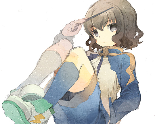 baton_(instrument) brown_hair fruit_punch grey_eyes hand_in_pocket inazuma_eleven inazuma_eleven_(series) inazuma_eleven_go male shindou_takuto solo