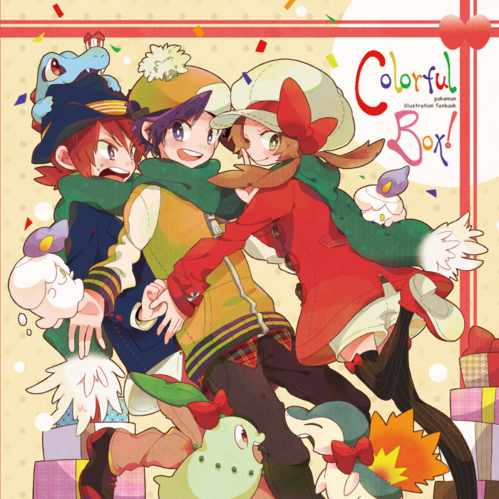 2boys alternate_costume black_hair blue_eyes brown_hair cabbie_hat chikorita clothed_pokemon cyndaquil gift gold_(pokemon) gold_(pokemon)_(remake) green_eyes hair_ribbon hat hat_ribbon litwick multiple_boys neck_ribbon pokemon pokemon_(game) pokemon_gsc pokemon_heartgold_and_soulsilver pokemon_hgss pomeko red_hair red_ribbon redhead ribbon scarf shushing silver_(pokemon) silver_(pokemon)_(remake) thigh-highs thighhighs totodile wink winter_clothes