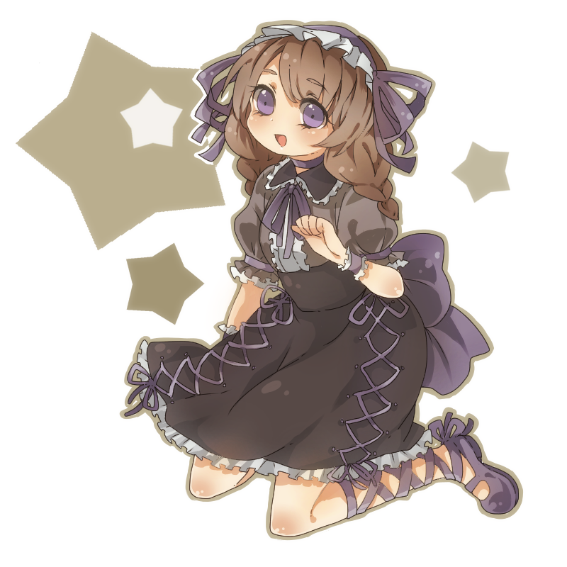 bad_id braid brown_hair cross-laced_footwear dress f_ugiiii frills gothic_lolita inazuma_eleven inazuma_eleven_(series) inazuma_eleven_go lolita_fashion long_hair open_mouth ribbon solo twin_braids yamana_akane