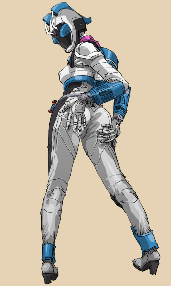 ass erect_nipples female full_body helmet high_heels kamen_rider kamen_rider_fourze_(series) kamen_rider_nadeshiko oprince shoes solo spread_ass