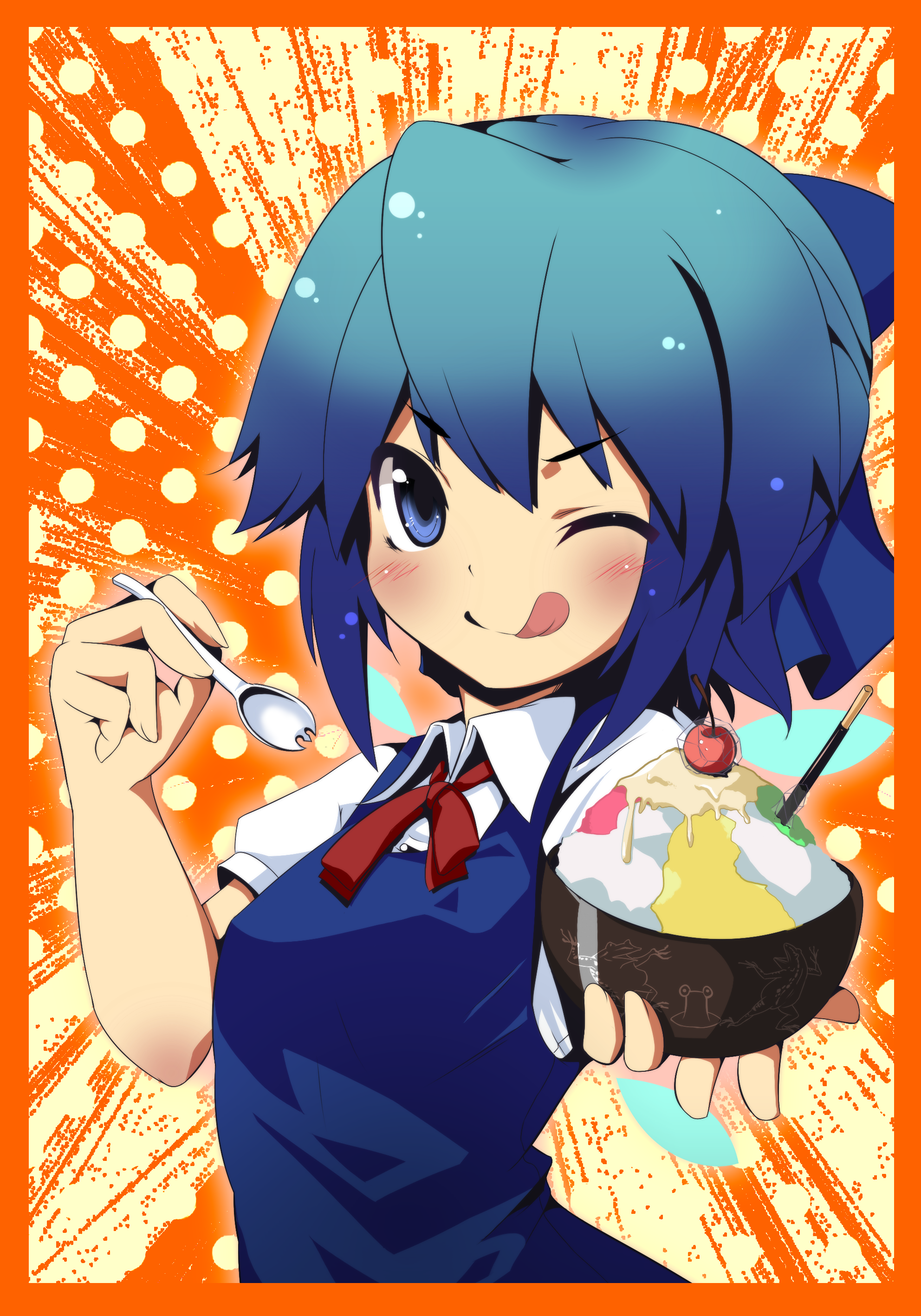 :p :q blue_eyes blue_hair cirno food highres ice_cream rokushou_kokuu short_hair tongue touhou wink