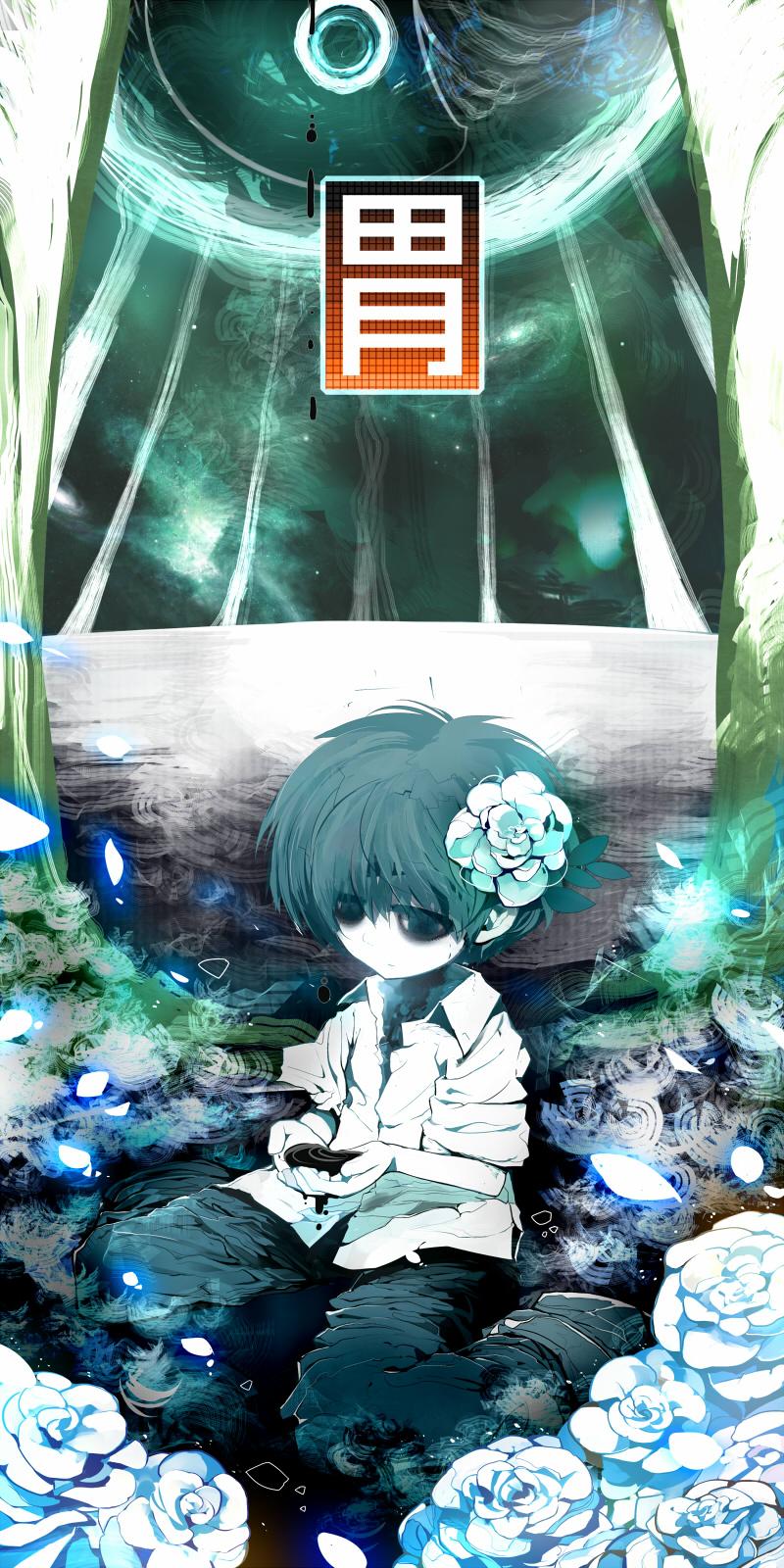 1boy bags_under_eyes flower hand_scoop highres kanji leaf mononoke_(empty) original partially_submerged petals shirt short_hair sitting solo translated wariza water