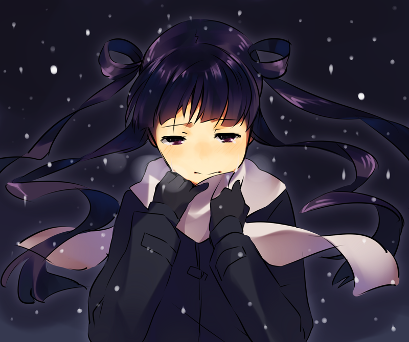 donut_(raemz) gloves jacket long_hair original purple_eyes purple_hair sad scarf snow violet_eyes weee_(raemz) winter winter_clothes