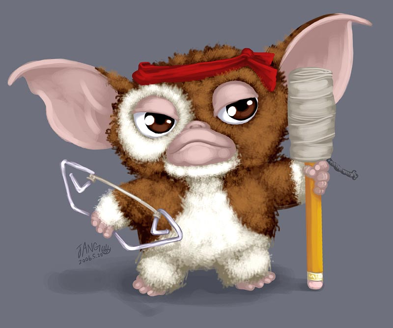 bandana bow_(weapon) brown_eyes gizmo gizmo_(gremlins) gremlins mogwai no_humans parody pencil rambo signature solo weapon