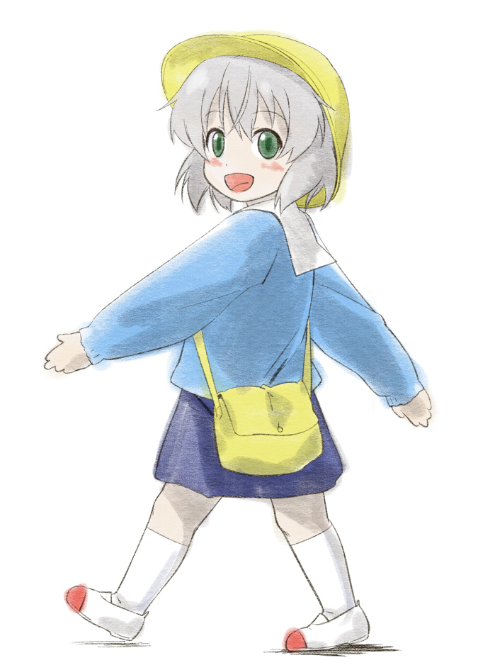 blush child green_eyes hat kindergarten kindergarten_uniform open_mouth sanya_v_litvyak school_hat school_uniform shoes short_hair silver_hair skirt smile strike_witches uwabaki youkan young