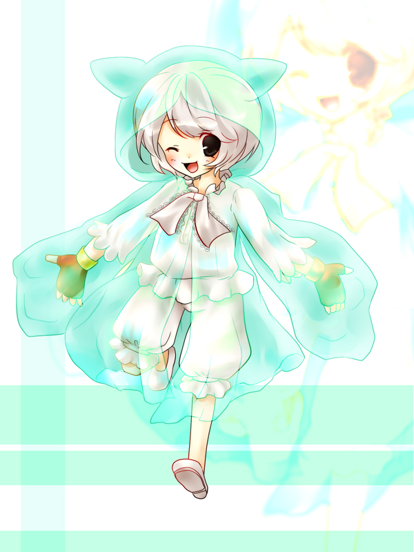 bad_id character_request gloves personification pokemon pokemon_(game) reuniclus short_hair solo wink zoom_layer