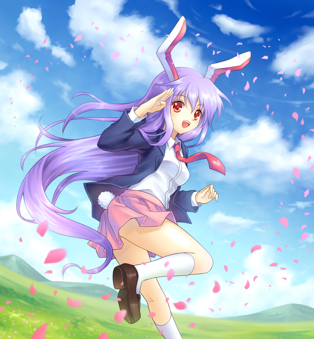 animal_ears bunny_ears bunny_tail long_hair looking_back mauve meadow open_mouth petals purple_hair rabbit_ears red_eyes reisen_udongein_inaba salute skirt smile solo standing_on_one_leg tail touhou very_long_hair