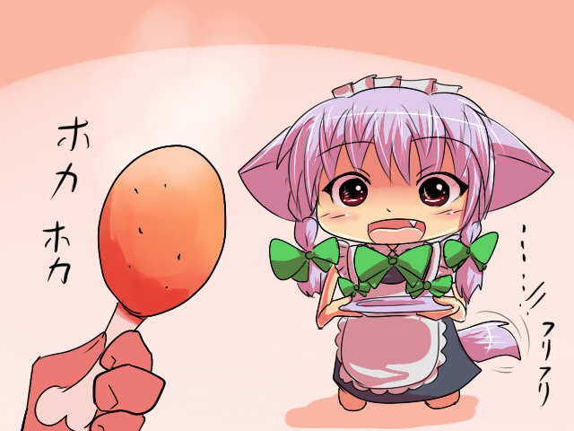 1girl akisame_ruu animal_ears apron blue_dress boned_meat braid chibi dog_ears dog_tail dress fang food hair_ribbon inu_sakuya izayoi_sakuya maid maid_headdress meat open_mouth pink_hair plate red_eyes ribbon tail tail_wagging the_embodiment_of_scarlet_devil touhou twin_braids