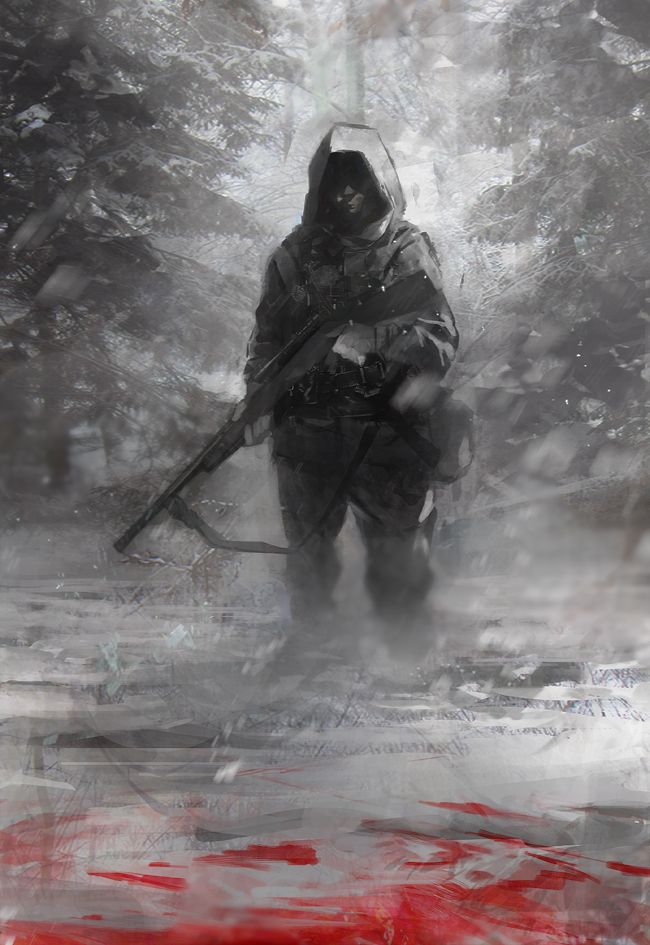 bad_id blood copyright_request gun hood male no_eyes operator realistic rifle scenery scope seafh sling sniper sniper_rifle snow solo tree weapon winter winter_scenery
