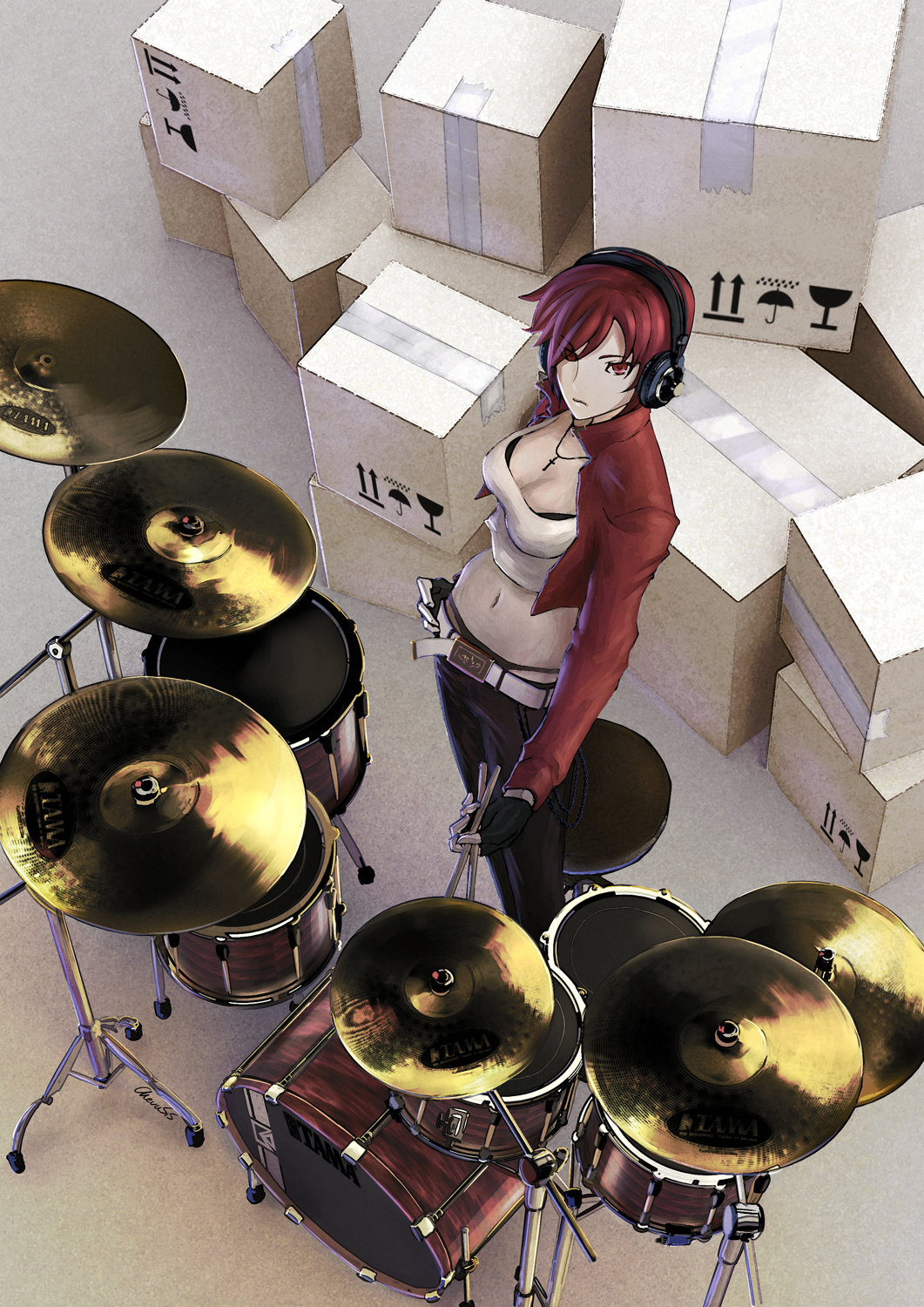 bad_id belt box cardboard_box casual chevasis drum drumsticks fingerless_gloves from_above gloves headphones highres instrument jewelry meiko midriff navel necklace red_eyes red_hair redhead short_hair vocaloid whale_tail