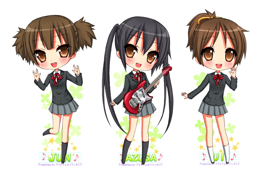 brown_eyes brown_hair chibi electric_guitar guitar hirasawa_ui instrument k-on! long_hair nakano_azusa pfxxx ponytail school_uniform short_hair short_twintails suzuki_jun twintails waving
