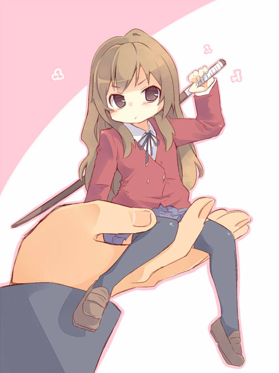 bokken brown_eyes brown_hair in_palm long_hair minigirl oosuzu_aoi pout school_uniform single_hand sword thigh-highs thighhighs toradora! weapon wooden_sword