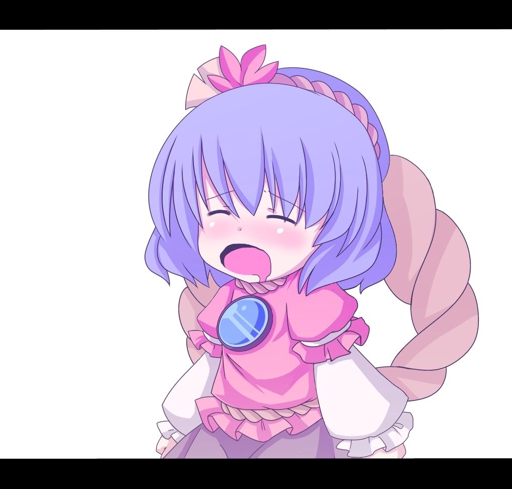 ^_^ bad_id blue_hair blush closed_eyes eyes_closed leaf letterboxed mirror open_mouth shimenawa short_hair solo tatuhiro touhou yasaka_kanako
