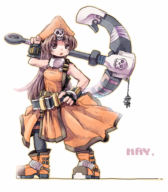 anchor boots citolo guilty_gear hat may may_(guilty_gear) skull solo