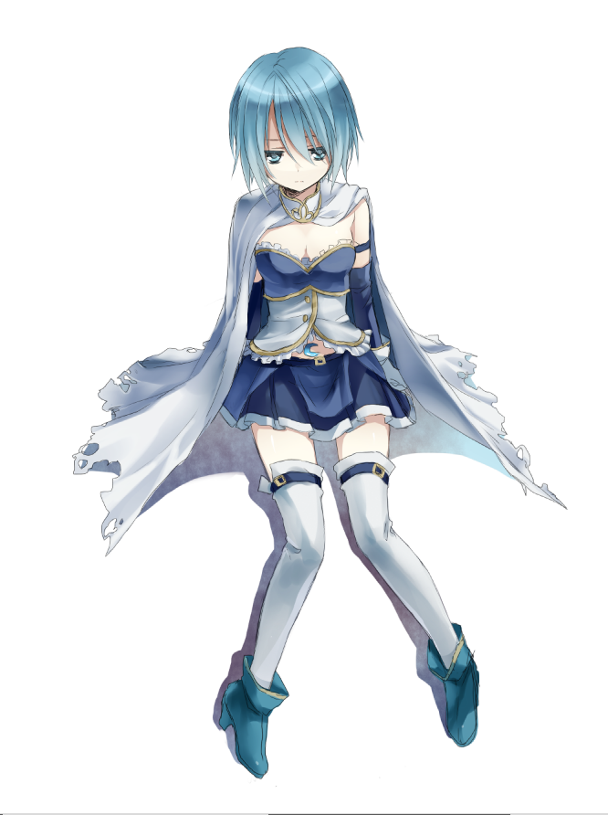 akira_(ku0427) armband blue_eyes blue_hair cape gloves magical_girl mahou_shoujo_madoka_magica miki_sayaka short_hair sitting solo soul_gem thigh-highs thighhighs torn_cape white_background zettai_ryouiki
