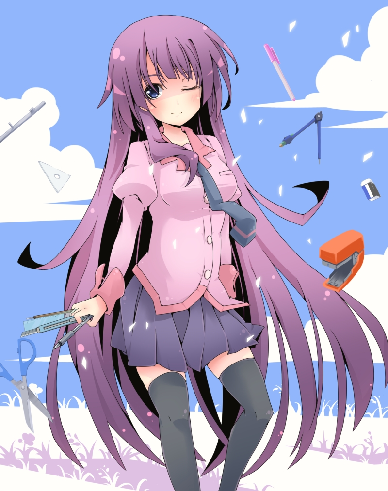 blue_eyes boxcutter compass_(instrument) eraser long_hair monogatari_(series) pen purple_hair r_85 school_uniform scissors senjougahara_hitagi stapler thigh-highs thighhighs triangle wink