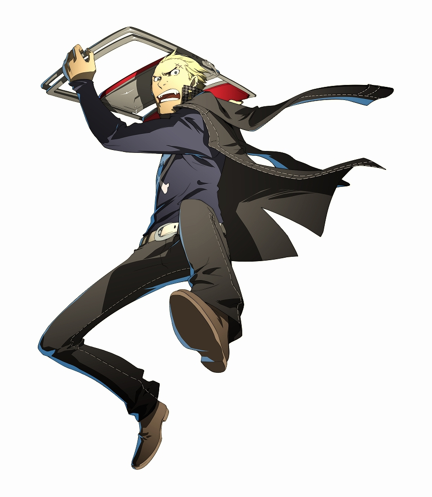 angry arc_system_works belt black_eyes blonde_hair chair delinquent fangs fighting_stance folding_chair jacket jacket_on_shoulders jolly_roger jumping long_sleeves looking_at_viewer male official_art open_mouth pants persona persona_4 persona_4:_the_ultimate_in_mayonaka_arena piercing scar shoes short_hair soejima_shigenori solo tatsumi_kanji widow's_peak widow's_peak