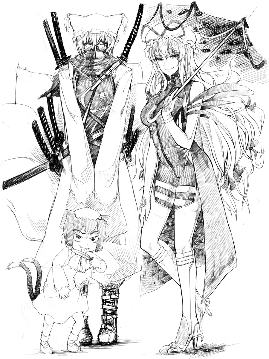 boots chen gap glasses hat high_heels highres katana knife knife_licking licking long_hair monochrome multiple_tails shoes sword tail touhou umbrella weapon yakumo_ran yakumo_yukari