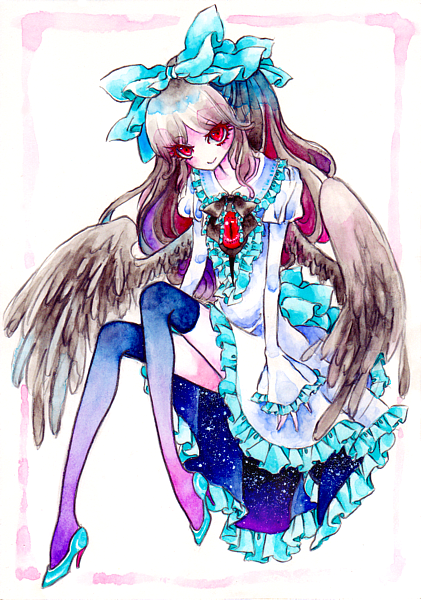 bow brown_hair dress eyes feathers frills hair_bow hair_ribbon high_heels long_sleeves looking_up miri no_nose red_eyes reiuji_utsuho ribbon shoes sitting smile thigh-highs thighhighs touhou traditional_media watercolor_(medium) wide_sleeves wings zettai_ryouiki