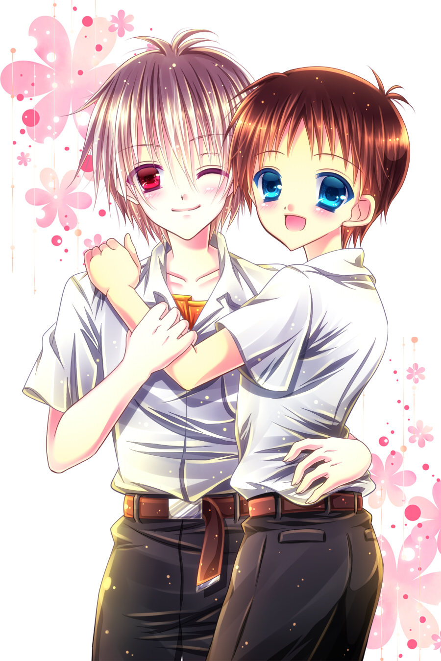 blue_eyes blush brown_hair highres ikari_shinji male momomiya_mion multiple_boys nagisa_kaworu neon_genesis_evangelion open_mouth red_eyes short_hair silver_hair smile yaoi