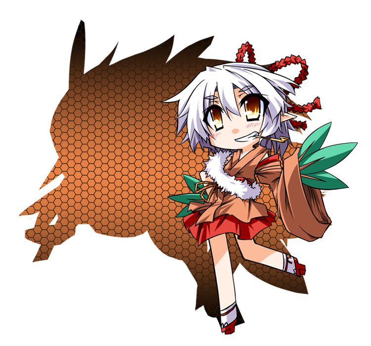 grin hair_bow hand_on_hip hemogurobin_a1c hips kiseru leaf personification pipe pokemon pokemon_(game) pokemon_rse shiftry short_hair silhouette sleeves_past_wrists smile transparent_background white_hair wide_sleeves yellow_eyes