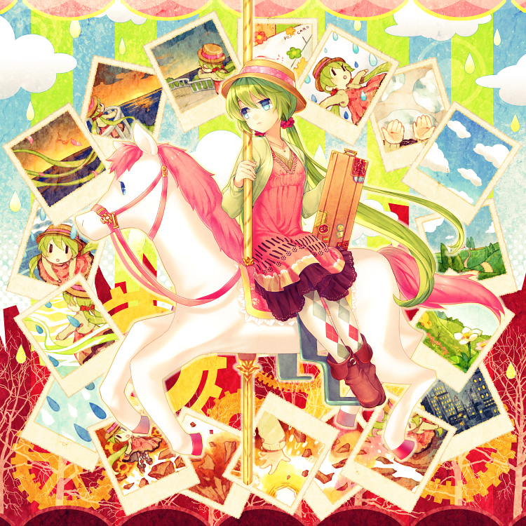 argyle briefcase carousel dress green_hair hat hatsune_miku horse pantyhose photo photo_(object) renta sitting vocaloid