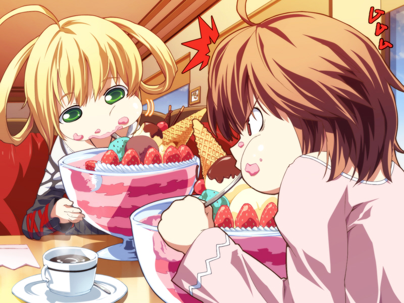 2girls ahoge angry ayase_kasumi blonde_hair chocolate contest dies_irae eating eating_contest food food_on_face fruit g_yuusuke game_cg green_eyes ice_cream indoors marie_(dies_irae) multiple_girls restaurant rivalry strawberry