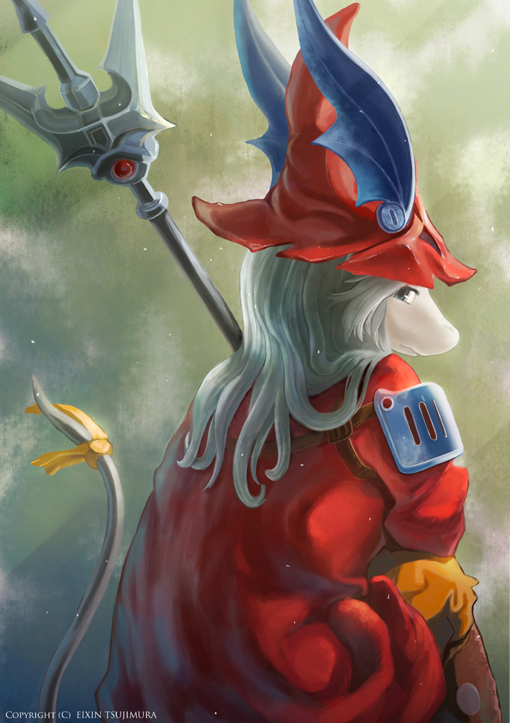 armor blue_eyes burmecian eixin female final_fantasy final_fantasy_ix freija_crescent freya_crescent furry green_eyes hair hat head_wings long_hair looking_at_viewer no_humans polearm rat rat_tail rodent sitting solo spear staff tail video_games weapon white_hair