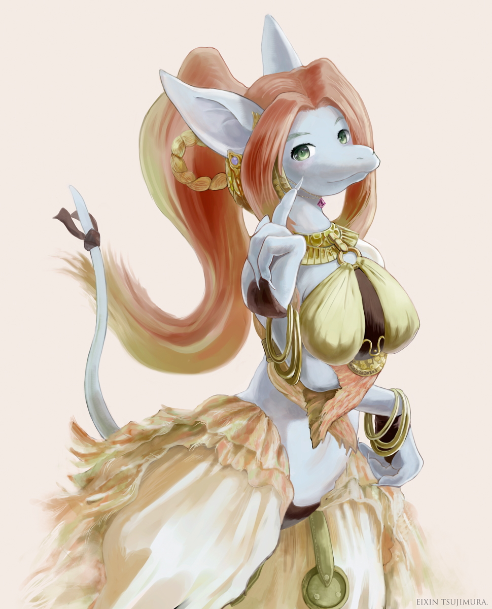 1girl animal_ears bangle bracelet breasts bubble_skirt burmecian cleyran dancer earrings eixin female fgsfds final_fantasy final_fantasy_ix furry green_eyes highres jewelry large_breasts long_hair midriff no_humans pointy_ears ponytail puffy_skirt rat rat_ears rat_tail red_hair redhead ribbon rodent solo tail tail_ribbon video_games