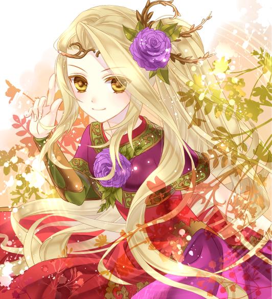 blonde_hair dress flower goddess index_finger_raised kid_icarus kid_icarus_uprising nintendo plant raised_finger ran_(artist) viridi yellow_eyes