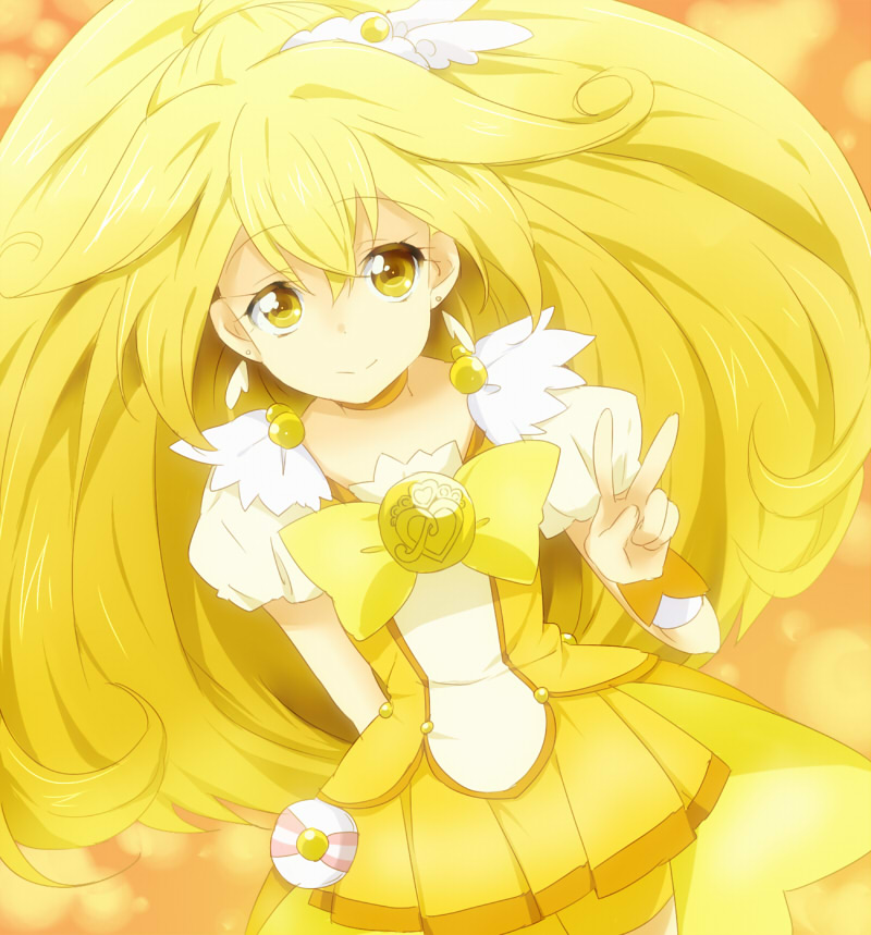 bike_shorts blonde_hair blush choker cure_peace double_v dress hair_ornament kise_yayoi long_hair magical_girl maruki_(punchiki) orange_background ponytail precure punchiki shorts_under_skirt smile smile_precure! solo v wrist_cuffs yellow yellow_dress yellow_eyes