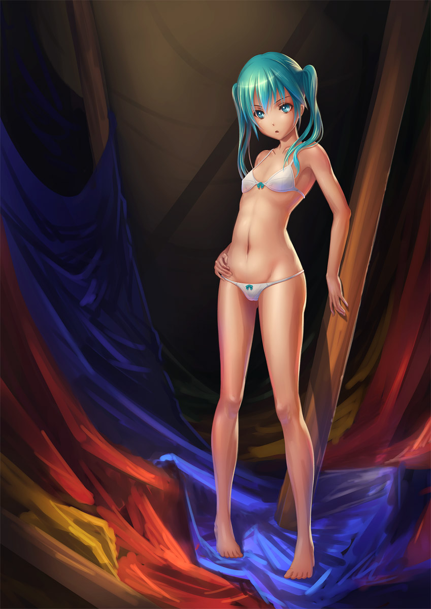 aqua_eyes aqua_hair barefoot bra hatsune_miku highres lingerie navel open_mouth panties pinakes solo standing twintails underwear underwear_only vocaloid white_bra white_panties