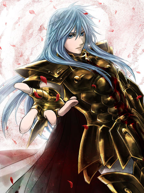 armor blood blue_eyes blue_hair cape full_armor long_hair male petals pisces_albafica saint_seiya saint_seiya:_the_lost_canvas solo