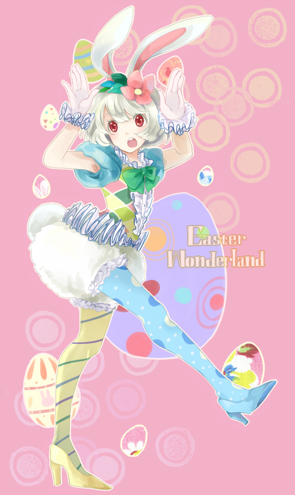 animal_ears asymmetrical_legwear bow bunny_ears copyright_request easter easter_egg flower frills gloves hair_flower hair_ornament high_heels lunica mismatched_legwear pantyhose shoes solo thigh-highs thighhighs