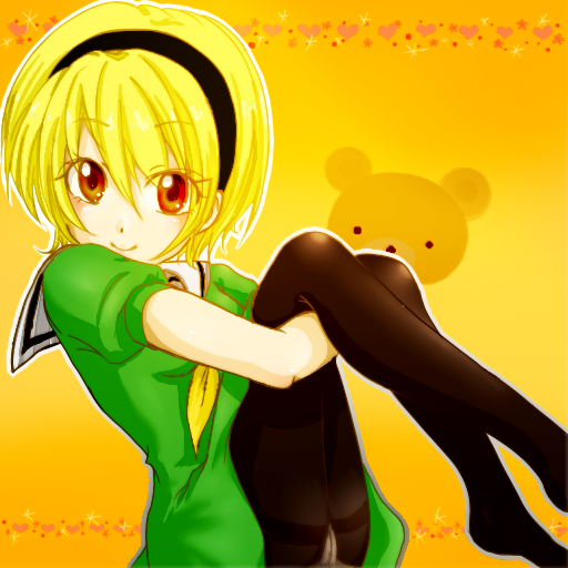 blonde_hair dress hair_between_eyes hairband heart higurashi_no_naku_koro_ni houjou_satoko leg_hold looking_at_viewer no_shoes orange_background panties panties_under_pantyhose pantyhose pantyshot pantyshot_(sitting) pantyshot_sitting red_eyes school_uniform see-through serafuku shironeko short_hair short_sleeves sitting smile solo stuffed_animal stuffed_toy teddy_bear underwear
