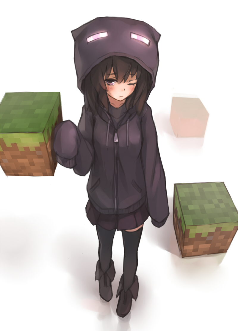 black_eyes black_hair black_legwear block blush enderman hoodie minecraft personification pleated_skirt shoes skirt sleeves_past_wrists solo thigh-highs thighhighs wink xiao_qiang_(overseas) zipper