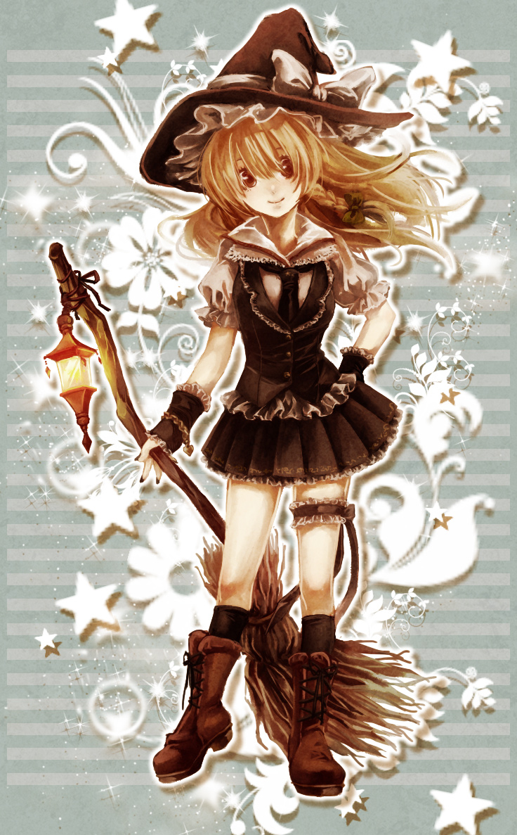 blonde_hair boots bow braid broom brown_eyes chain chains cross-laced_footwear garters hat hat_bow kirisame_marisa leg_garter long_hair sakanahen skirt smile solo touhou witch witch_hat