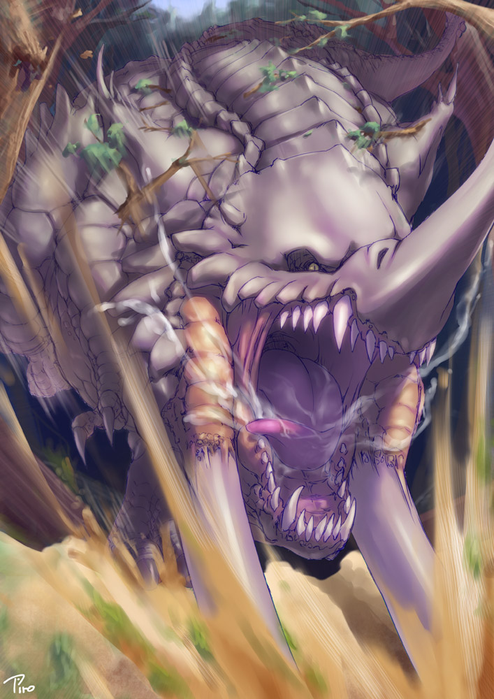 fang monster no_humans original piro_(artist) spit