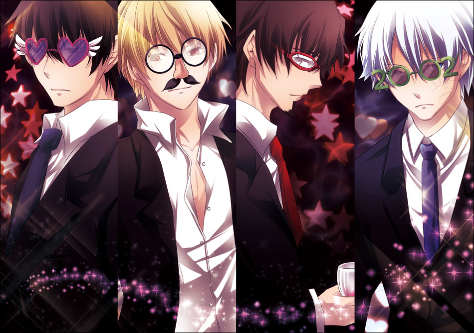 bespectacled blue_eyes brown_eyes brown_hair facial_hair fancy_glasses fate/zero fate_(series) formal funny_glasses gilgamesh glasses goatee goggles green-framed_glasses heart-shaped_glasses hesokugi heterochromia kotomine_kirei male matou_kariya multiple_boys necktie red-framed_glasses red_eyes sparkle suit tohsaka_tokiomi toosaka_tokiomi