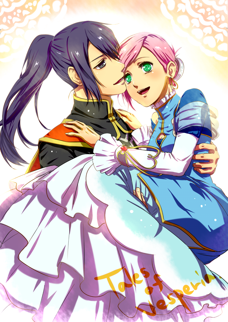 1girl alternate_costume alternate_hairstyle black_eyes black_hair blue_dress blush carrying dress estellise_sidos_heurassein green_eyes highres kenta_(4015819) long_hair pink_hair ponytail princess_carry short_hair smile tales_of_(series) tales_of_vesperia title_drop yuri_lowell