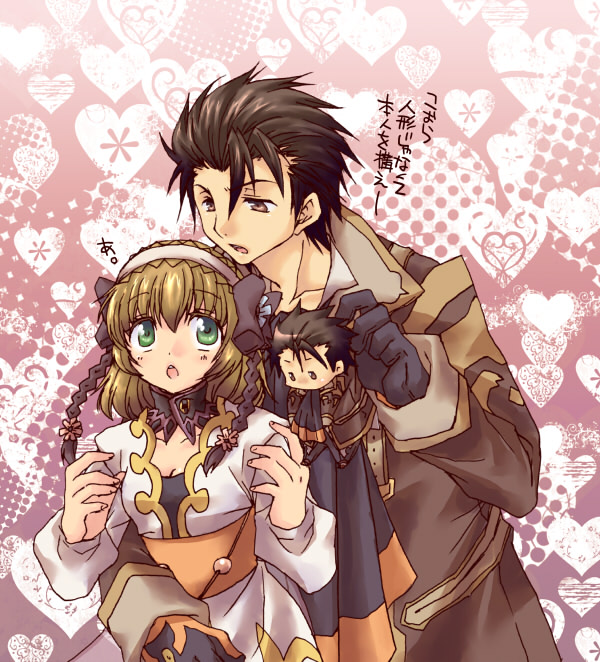 1girl :o alvin_(tales_of_xillia) black_gloves brown_eyes brown_hair character_name coat cravat detached_collar gloves green_eyes hairband heart heart_background itsuki_(platinum1228) leia_roland pink_background short_hair tales_of_(series) tales_of_xillia translation_request