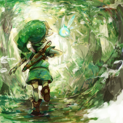 child forest from_behind green link lowres nature navi nintendo ocarina_of_time pointy_ears sin_(hitonatsu) sword the_legend_of_zelda tree weapon young_link