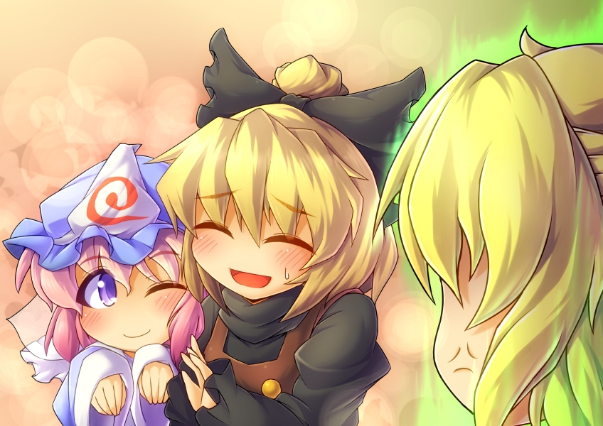 anger_vein blonde_hair blush bow closed_eyes eyes_closed fun_bo hair_bow hat japanese_clothes jealous kurodani_yamame mizuhashi_parsee multiple_girls pink_hair purple_eyes saigyouji_yuyuko short_hair smile touhou triangular_headpiece violet_eyes wink