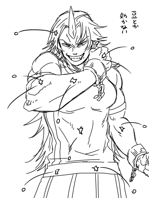 >:) >:d :d beans bust chain chains cuffs fangs greyscale grin horn hoshiguma_yuugi long_hair looking_at_viewer monochrome muscle oni open_mouth pointy_ears setsubun shackle shackles short_sleeves simple_background sketch smile solo t-shirt torinone touhou translated translation_request white white_background