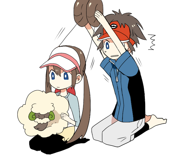 barefoot brown_hair character_request detached_hair female_protagonist_(pokemon_bw2) hair_bun ikuryomaga kyouhei_(pokemon) leggings long_hair male_protagonist_(pokemon_bw2) mei_(pokemon) no_shoes pantyhose pokemon pokemon_(game) pokemon_bw2 raglan_sleeves seiza shorts sitting twintails vest visor_cap whimsicott