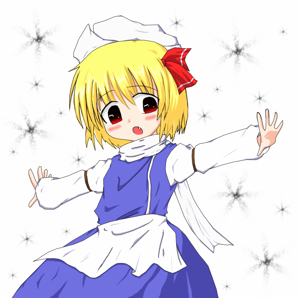 :o apron armband blonde_hair blush_stickers cosplay fang hair_ribbon hat iruru5666 letty_whiterock letty_whiterock_(cosplay) long_sleeves looking_at_viewer open_hand open_mouth outstretched_arms red_eyes ribbon rumia scarf shirt short_hair simple_background skirt snowflakes solo touhou vest white_background